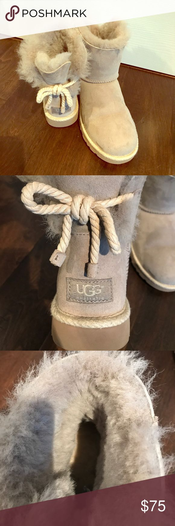 Grey Selene Classic Suede UGG Boots Womens size 7 Selene Classic suede boots in a light Grey with nautical rope tied on the backs. In very good condition worn only in the house minimal times. UGG Shoes Ankle Boots & Booties