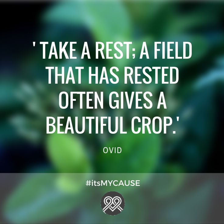'Take a rest; a field that has rested often gives a beautiful crop.' -Ovid #itsMYCAUSE #Ovid #quote #crowdfunding #poet #Roman
