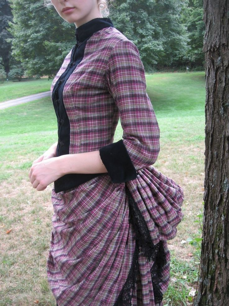 victorian bustle dress | Victorian Bustle Day Dress in cotton plaid with black velvet trim ...