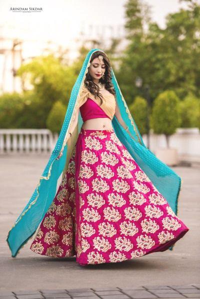 Light Lehengas - Fuchsia Pink Lehenga with Gold Butti Embroidery and Blue Dupatta   WedMeGood Photo by: Arindam Sikdar Photography #wedmegood #indianbride #indianwedding #bridal #pink #fucshia #pink #lehenga #lightlehenga #gold