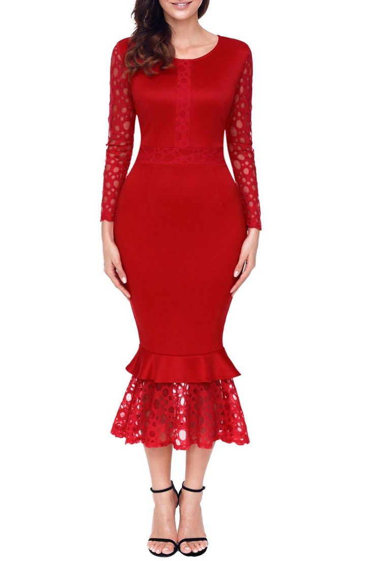 Red Hollow-out Long Sleeve Lace Ruffle Midi Dress modeshe.com #Red #dress #party #homecoming #tendances #classy