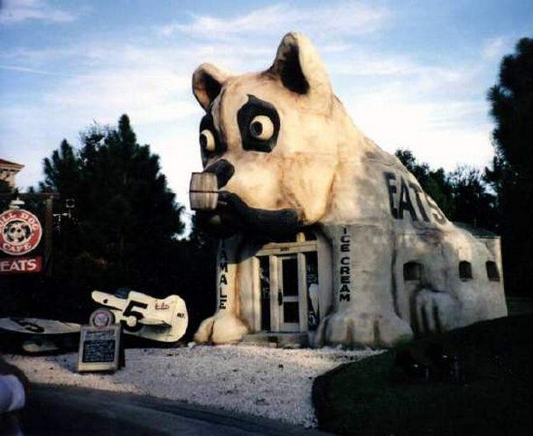 Bull Dog Cafe, Florida ~ Notes: Photo by Joan Romer.  [Restaurant is] On the back lot of the MGM/Disney Studios Park. It was the café that the movie the Rocketter was filmed. (Melanie Born) Source: http://www.ohiobarns.com/othersites/buildings/fl/09-XXbdc.html