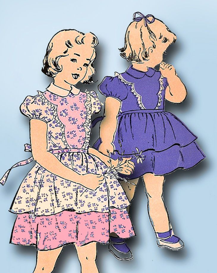 1940s Vintage New York Sewing Pattern 844 Uncut Toddler Girls Party Dress Sz 2 #NewYork #DressPattern