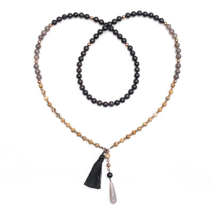 xada jewellery - Black bead mix Boho necklace, $69.95 (http://www.xadajewellery.com/shop-by-collection/black-bead-mix-boho-necklace/)