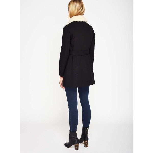 Miss Selfridge PETITE Black Fur Collar Coat ($135) ❤ liked on Polyvore featuring outerwear, coats, black, petite, faux fur collar coats, miss selfridge, miss selfridge coats and petite coats