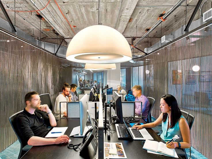 WME/IMG's Office by the Rockwell Group Lets Talent Shine | Its pendant fixtures are polyethylene. #design #interiordesign #interiordesignmagazine #offices #NewYork #NYC