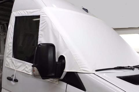 white windshield cover with side insect screen for Sprinter van