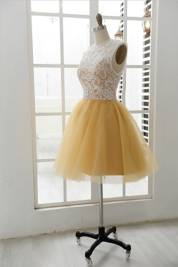 Lace Tulle Bridesmaid Dress Prom Dress Yellow Tulle by misdress