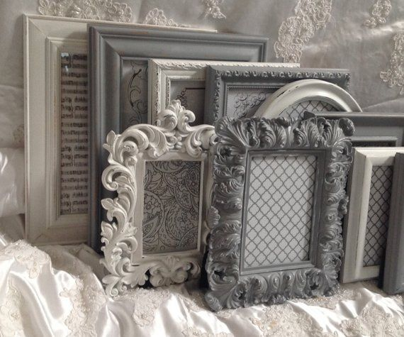 Shabby Chic Picture Frame Set Ornate Mix Custom Colors And Sizes Hand Painted Vintage Frames Upcycled With Images Shabby Chic Picture Frames Picture Frame Sets Frame Set