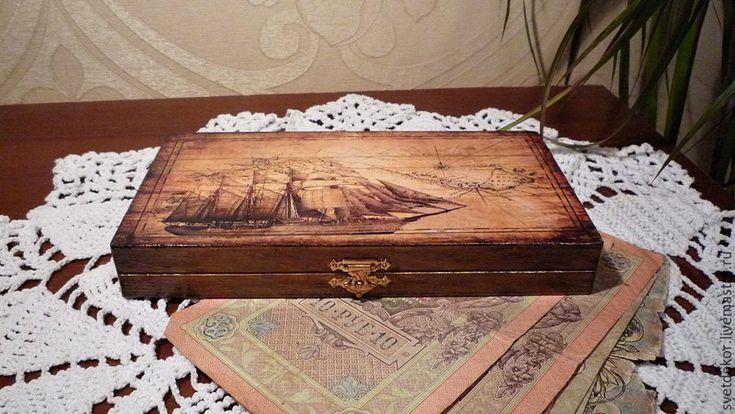 """Купить Купюрница """"Морское путешествие"""" - коричневый, подарок мужчине, купюрница декупаж, купюрница-шкатулка"""