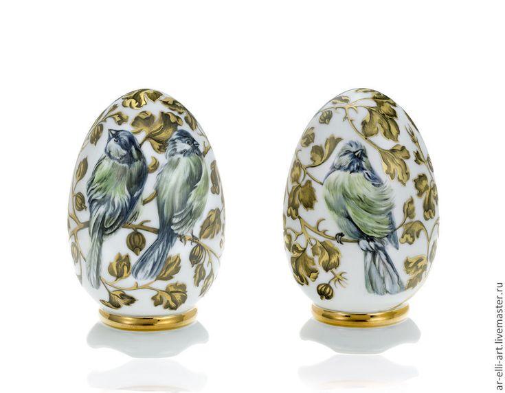 """Купить Фарфоровое яйцо """" Крыжовник и птицы"""" - золотой, фарфор, фарфоровая статуэтка, ручная роспись"""