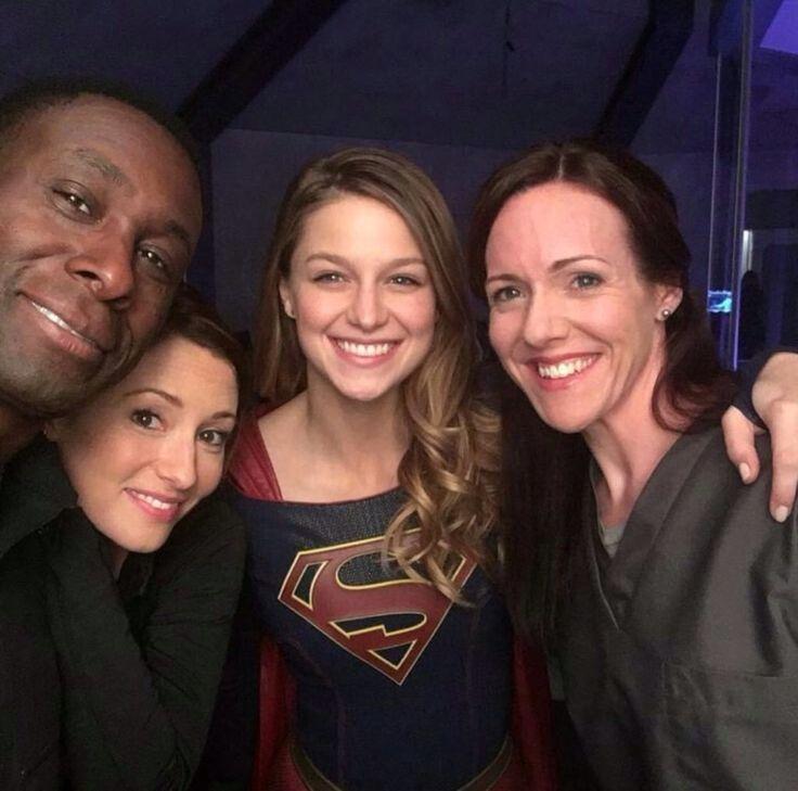 Melissa Benoist, Chyler leigh & David Harewood #Supergirl
