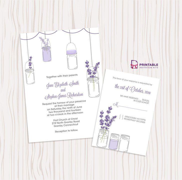 15 best wedding invitations images on pinterest invitations lavender and mason jar wedding invitation junglespirit Images