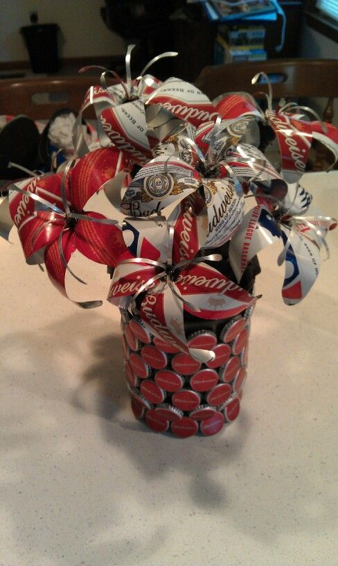 Beer can bouquet with beer cap vase