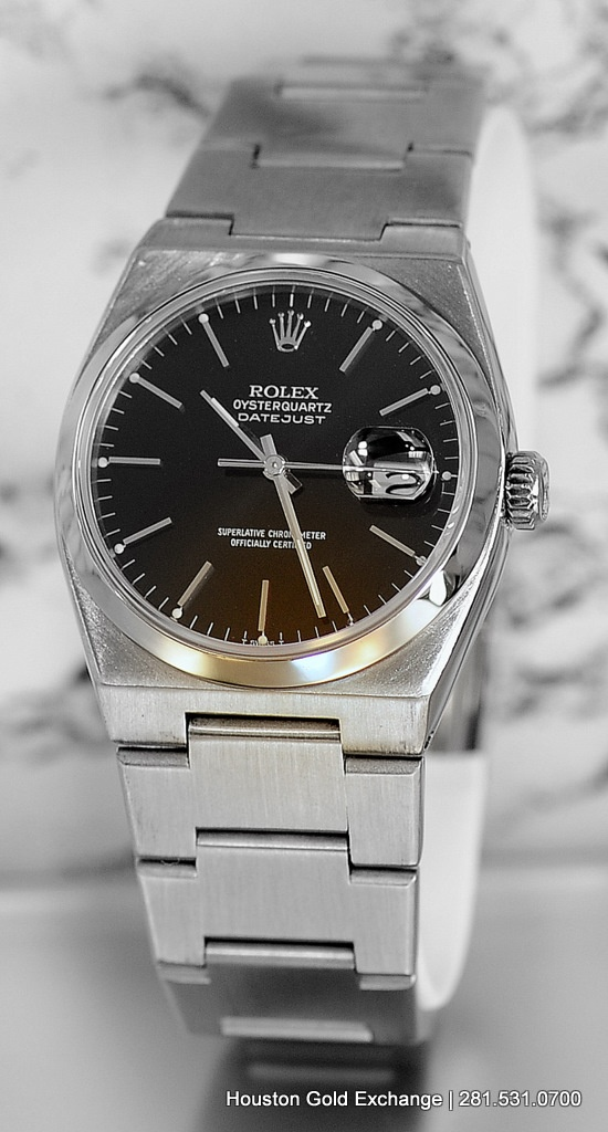 1979 Rolex OysterQuartz DateJust in Stainless Steel with an integral Oyster Bracelet. Yes Rolex actually made a Quartz watch up until 1991.