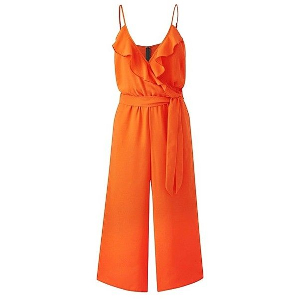 Simply Be Ruffle Wrap Jumpsuit ($55) ❤ liked on Polyvore featuring jumpsuits, jump suit, orange jump suit, ruffled jumpsuits, wrap jumpsuit and orange jumpsuit