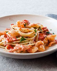 Linguine with Shrimp and Creamy Roasted Tomatoes Recipe on Food & Wine.  This looks amazing!