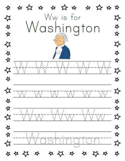 W is for Washington Presidents' Day Tracing Worksheet
