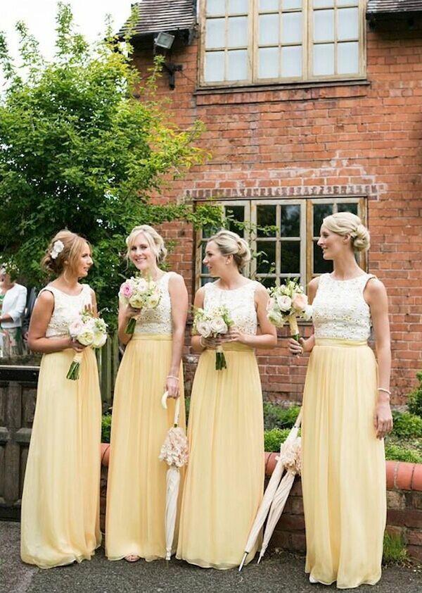 2015 Lemon Yellow Chiffon Bridesmaid Dresses,Custom Made Wedding Party Dresses,Sleeveless Lace Long Dresses