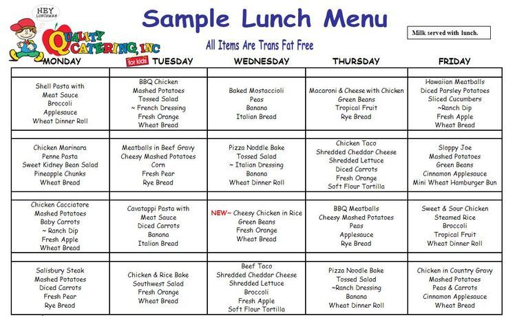 Cacfp Free Menu Examples Yahoo Image Search Results Daycare