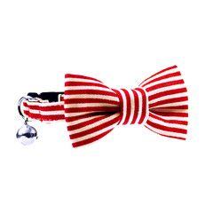 Cat Collar & Bow Tie;  Red and White Stripe