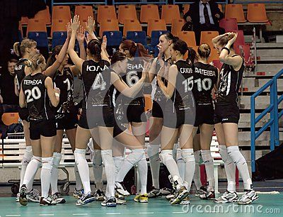 MOSCOW, RUSSIA - FEBRUARY 18: Unidentified players on women's Rissian volleyball Championship game Dynamo(MSC) vs Omichka(Omsk) on February 18, 2013 in Moscow, Russia