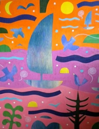Mark  Warren  Music is my Harbour - 2013   Acrylic on canvas   100 x 80cm