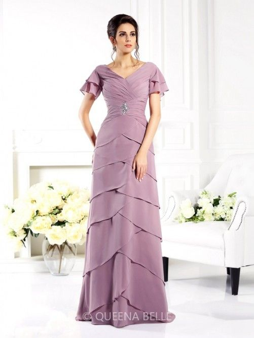 Sheath/Column V-neck Short Sleeves Floor-Length Chiffon Mother of the Bride Dresses