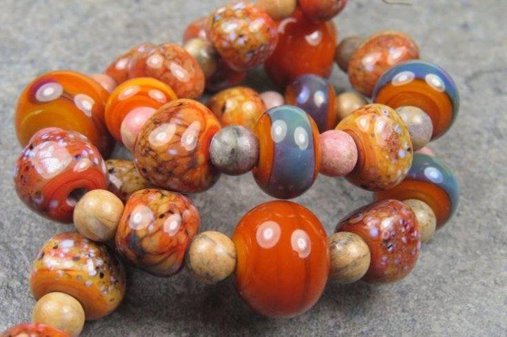 Into the Fire Lampwork Art Beads ~Schiacciare~ Artist handmade glass beads SRA