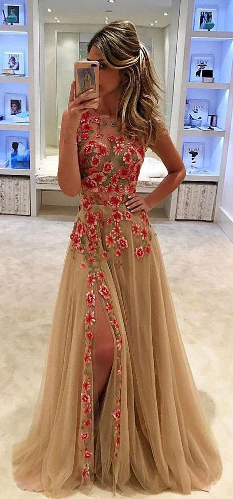 Unique Tulle Flower Appliques Sleeveless Long Formal Prom Dress With Side Slit