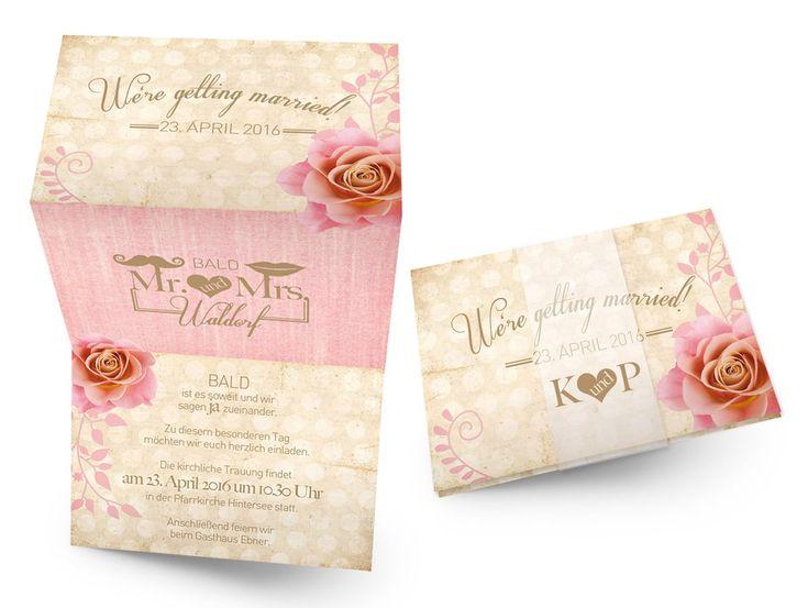 Individuelle Hochzeitskarte Mit Rose Und Im Vintage Design Online Günstig  Bestellen