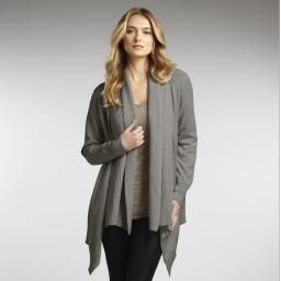 Ribbed Collar Cardi, Ash: Cozy and plush, this organic cotton cardi will keep you warm and stylish!