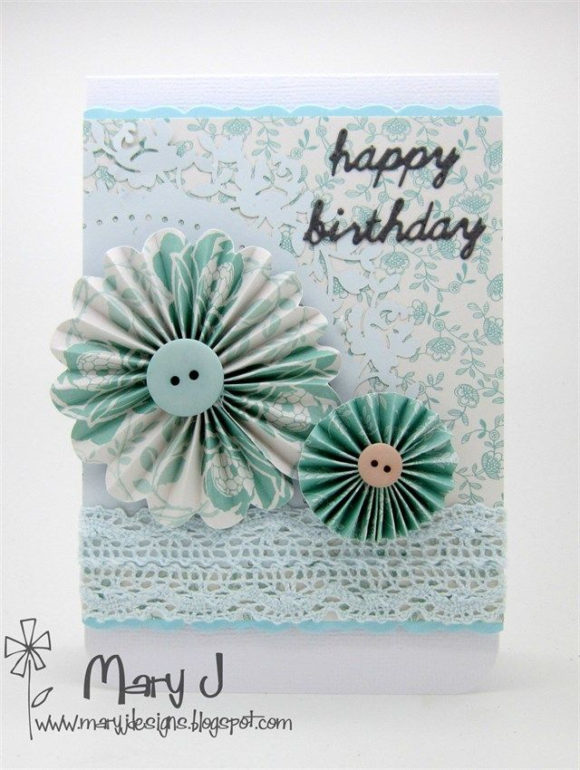 Beautiful handmade Birthday Card made using the Papermania Capsule Eau De Nil collection.