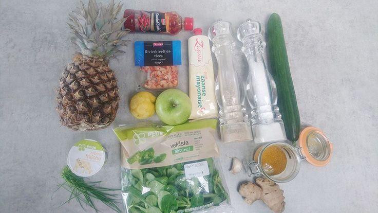 Frisse rivierkreeft salade met ananas chutney ingrediënten