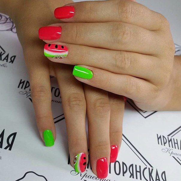 Bright lime nails, Bright rednails, Juicy nails, Juicy summer nails, Square nails, Summer nails 2016, Summer nails ideas, Two-colored bright nails