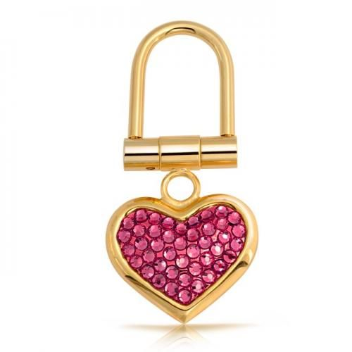 Bling Jewelry Gold-Plated Pink Austrian Crystal Heart Shape Keychain Keyring