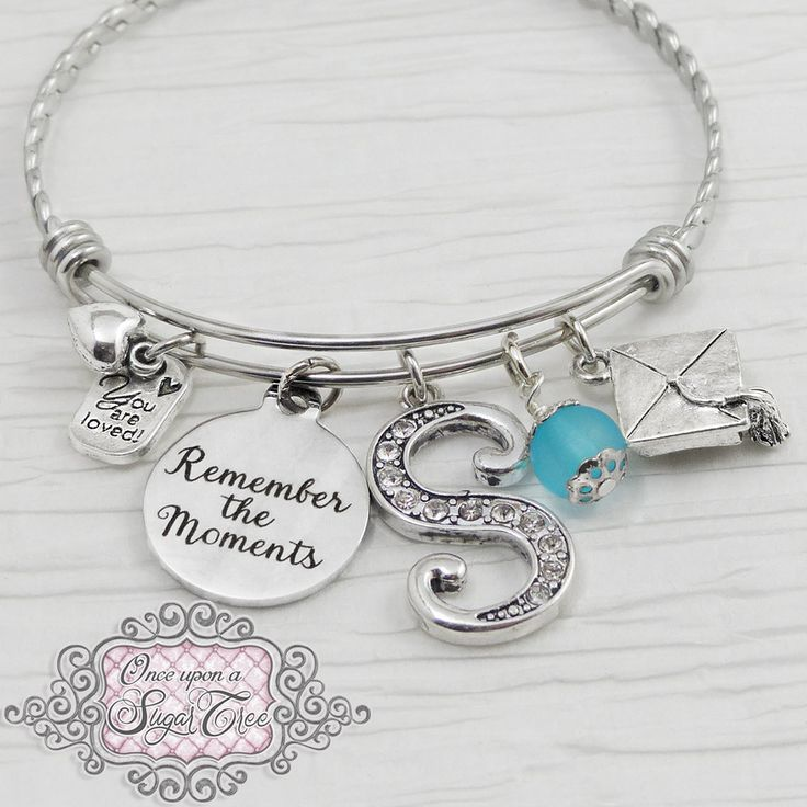 Graduation Gift, Graduate Bangle Bracelet, Remember the Moments, Letter Charm Bracelet-Jewelry-High school Graduation Gift,College Grad Gift