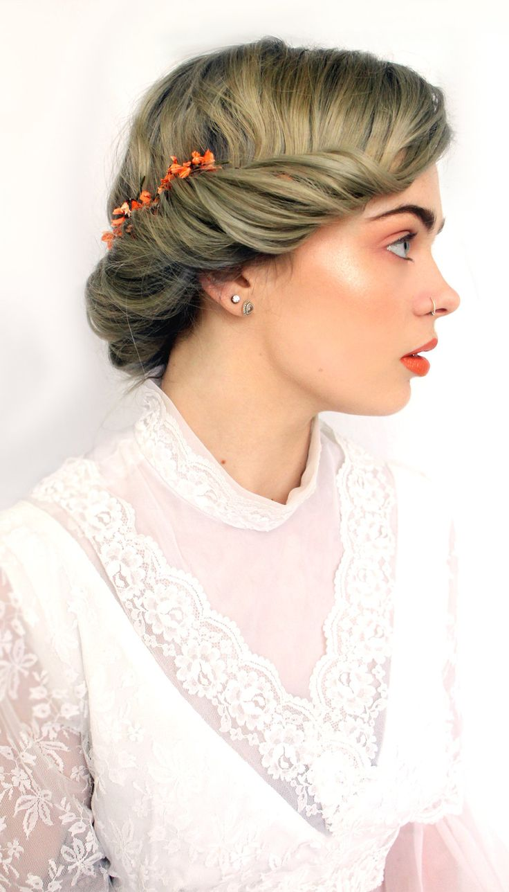 soft peachy makeup , loose gibson roll , highlighter , side profile , rock n roll wedding , bridal makeup , photo/hair /makeup by Nicola Honey Artistry