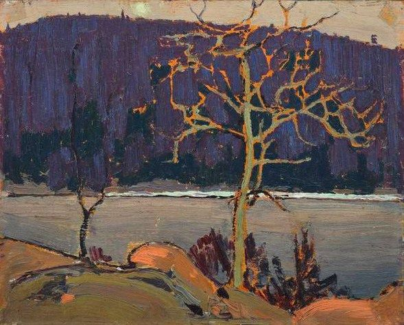 Tom Thomson, Purple Hill, 1916. Oil sketch on wood panel.