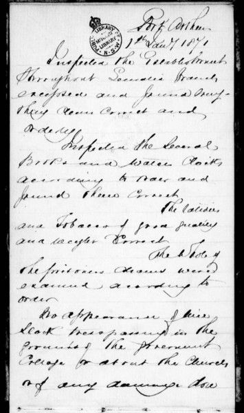 George Whittington's report book, Port Arthur, 1 January 1871 - 30 June 1872. From the collections of the State Library of New South Wales: http://acmssearch.sl.nsw.gov.au/search/itemDetailPaged.cgi?itemID=441587