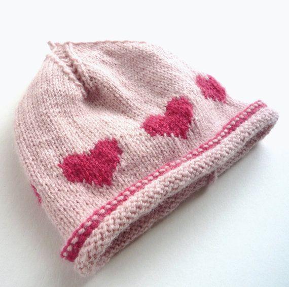 Little Heart Knitting Pattern : KNITTING PATTERN baby hat 4ply little hearts by ...
