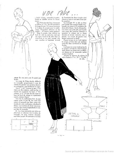 1920s dress pattern -- there are a bunch of other patterns (all in French) following the link