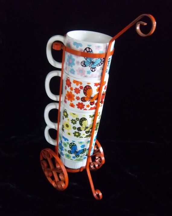 Four Retro 70s Coffee Cups on Orange Metal Cart by DayJahView