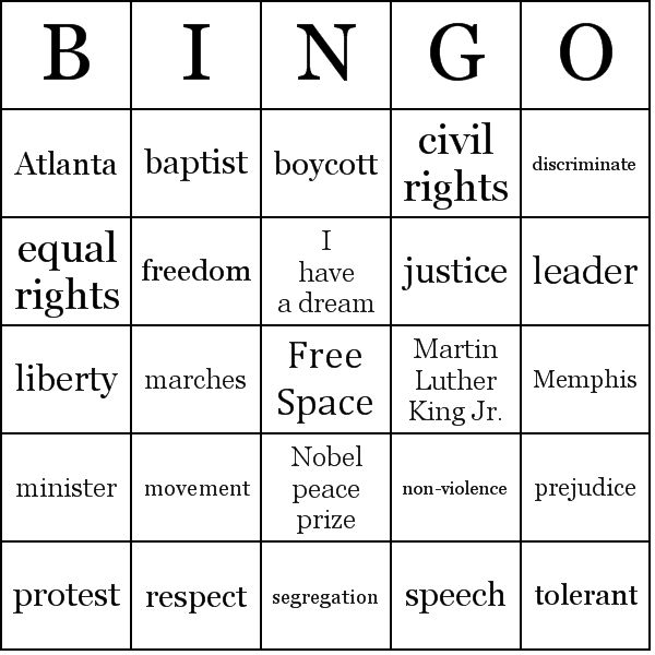 Martin Luther King Activities Worksheets | Martin Luther King Jr. Bingo Cards - Word List