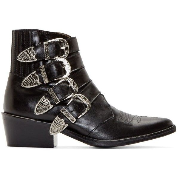 Toga Pulla Black Western Buckle Boots (570 CAD) ❤ liked on Polyvore featuring shoes, boots, ankle booties, black, cowboy boots, black boots, black cowgirl boots, leather booties e leather ankle boots