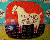 """Цветочные White Horse - """"внутренний сад"""" - ограниченным тиражом жикле на бумаге / животного Печать / причудливой"""