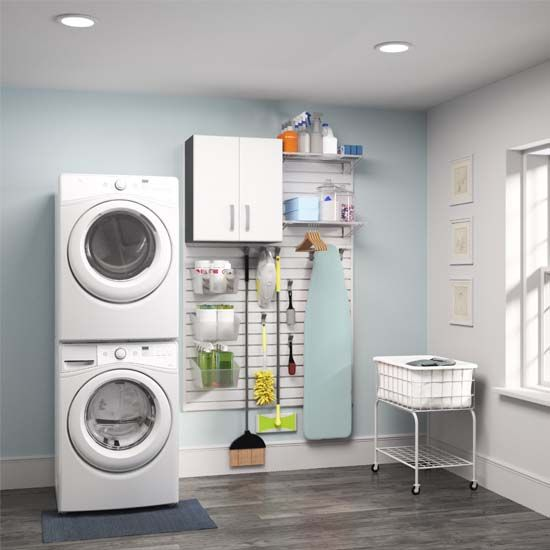 Creating an organized and visually appealing laundry room is actually possible with this easy-to-install cabinet system.