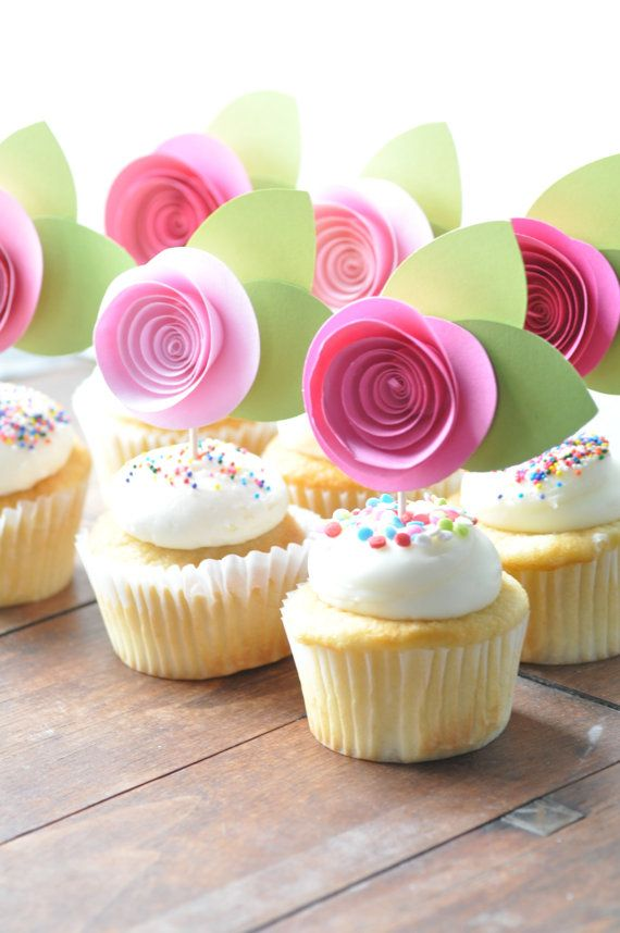 Cupcake topper Paper flower cupcake topper baby by lillesyster