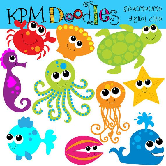 COMBO Pack Bright Sea Creatures digital clip art and by kpmdoodles, $5.75