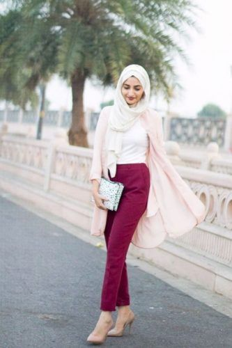 maroon pants with pink cardigan chic hijab- How to wear long cardigan with…